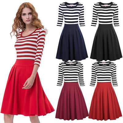 Fashion Women Black White Striped Pattern 3/4 Sleeve Crew Neck A-line Dress S-xl
