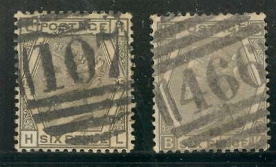 """ENG_13 - ENGLAND. Pair of 6 pence """"QUEEN VICTORIA"""" stamps. Used."""
