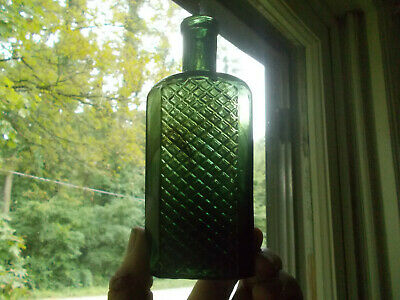 """Pretty Forest Green With Olive Streaks Quilted Poison Bottle 6 1/8""""Hand Blown"""
