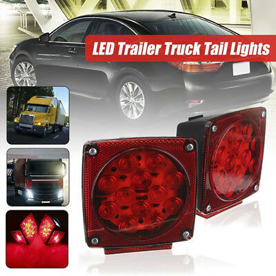 """12Led Submersible Square Lights Trailer Under 80"""" Tail Brake Boat Stud MouRCCA"""