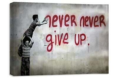 banksy never give up boys canvas print