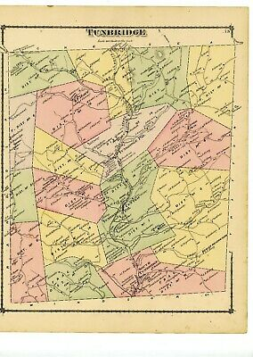 1877 old map of Tunbridge Vermont from Atlas of Orange County, with family names