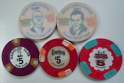 $5 Casino Chips - Bugsy Siegel Cactus Jack's / Comstock / Harolds Club- LOT of 5