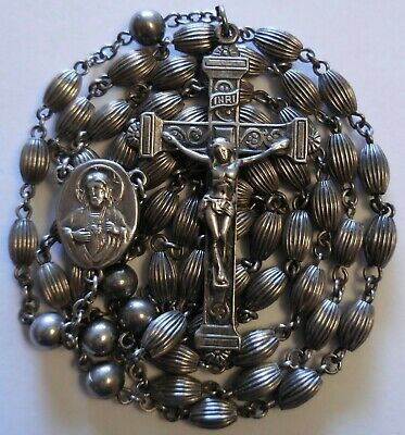 Beautiful Antique Sterling Silver Rosary 22 Grams Vintage