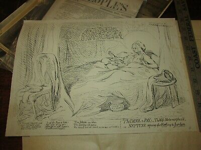 Antique ROWLANDSON ENGRAVING 18TH OR 19TH CENTURY THE DEVIL TO PAY