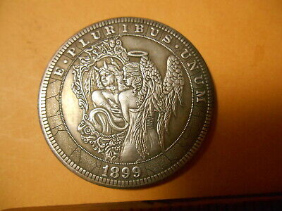 Beautiful Winged Angel & In Mirror Horned Reflection, Angel & Devil Woman Coin