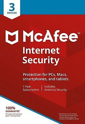 McAfee Internet Security 2019 1 Year 3 Users ESD Delivered Via Email