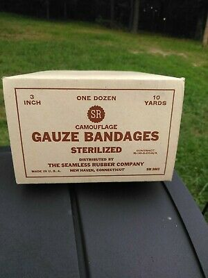 WW2 U.S. Army  NOS bandages dated 2-44, 12 bandages per box. 1 box per listing.