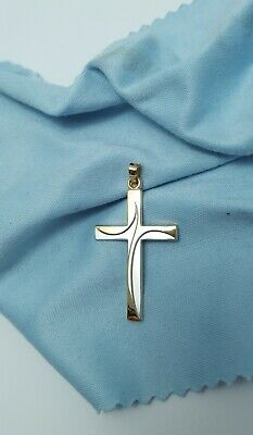 Beautiful 14K Karat Two Tone Gold Religious Cross Charm Pendant - Nice!