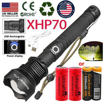 500000LM Zoomable XHP70 LED 3-mode USB Rechargeable 18650 26650 Flashlight Torch