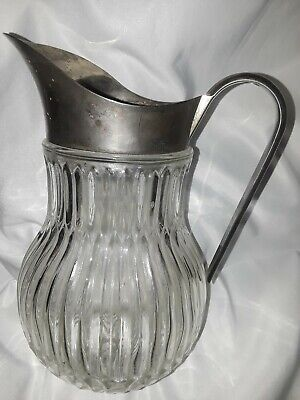 Vintage Italy Silver Plate Ribbed Crystal Glass Water Ice Pitcher Lipped Barware
