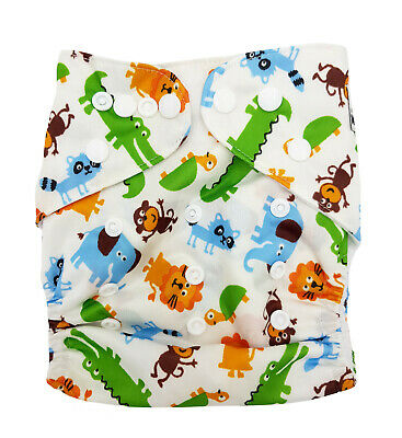 Modern Cloth Reusable Washable Baby Nappy Diaper & Insert, CROCODILE ANIMALS