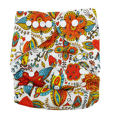 Modern Cloth Reusable Washable Baby Nappy Diaper & Insert, RETRO ORANGE FLOWERS