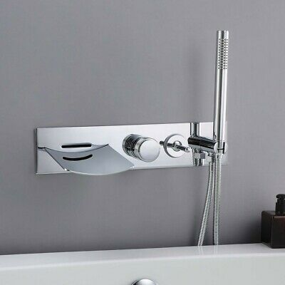 Modern Wall Mounted Tub Filler Faucet Bathtub Waterfall Faucet&Handshower Kit