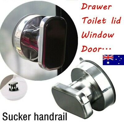 Strong Suction Cup Cabinet Drawer Handle Glass Door Pull Window Button Silver AU