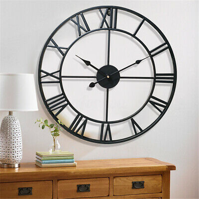 Metal Skeleton Wall Clock Antique Gold Home Decor Round Living Room 40/50cm