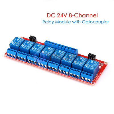 DC 24V 8 Channel Relay Module with Optocoupler Isolation High/Low Level Trigger