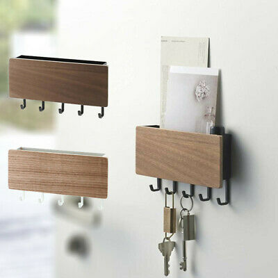 UK Wooden Wall Mounted Hanging Hanger Hooks Key Holder Storage Rack Organizer