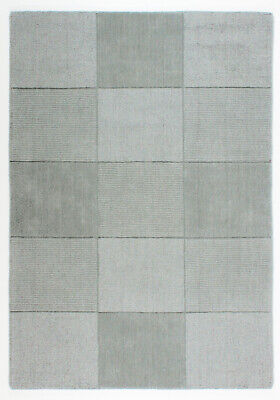 Small & Large Thick Pile Light Grey Squares 100% Wool Oakland Rug Clearance