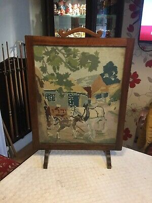 """Vintage Fire Screen Wood And Glass + Embroidered Horse Scene...29"""" Tall X 20.5"""""""