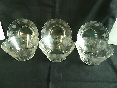 Set of 6 Stunning Victorian Cut Glass Patty Pans 19th Century Etched Grapes Vine