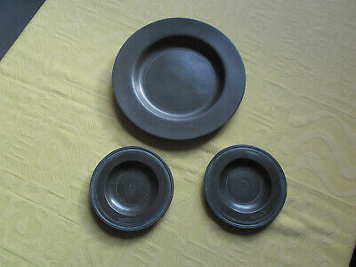 1 Antique Pewter Plate & 2 Dishes With 3 Lions Passant Stamp ' London ' Job Lot