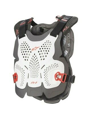 2020 Alpinestars A1 Plus Chest Protector White Red Adult Body Armour Motocross