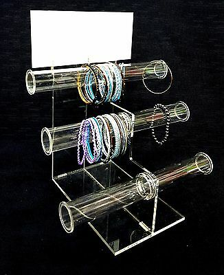 Acrylic Bracelet Display Stand 3 Tier T-Bar Organizer W/Sign Holder - Free Ship