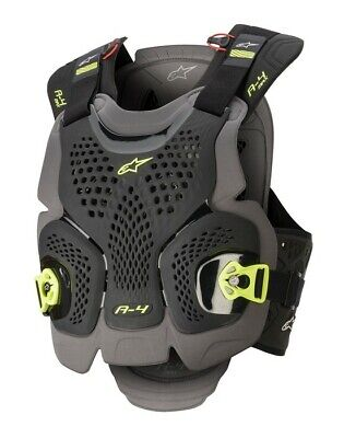 2020 Alpinestars A4 Max Chest Protector Black Yellow Adult Body Armour Motocross