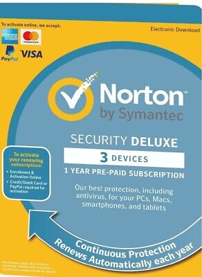 Norton Security DELUXE 2019, 3 Devices 1 Year DOWNLOAD VERSION (PC|Mac|Android)