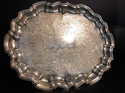 Vintage Italian Leonard Silver Plate Serving Tray Scalloped Rim Etched Platter