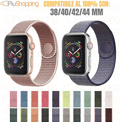 Cinturino Per Apple Watch Serie 1 2 3 4 In Nylon Tessuto Sport  38 40 42 44 Mm