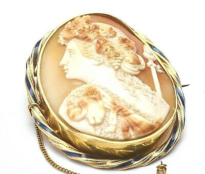 Large Antique Victorian 18CT Gold Cameo Brooch Blue & White Enamel Gold Surround