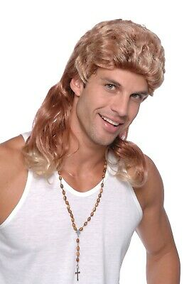80'S Two Tone Blonde + Ginger Curly Mullet Rock Star Wig Fancy Dress Accessory