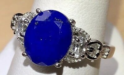 Lapis Lazuli Ring with White Topaz accents in Platinum Bond Brass with Hearts