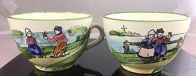 Antique Zell Germany Ceramic Hand Painted Dutch Boy Girl Tea Cup X2 Set