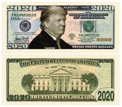 Two (2) Donald Trump 2020 Dollar Bill Note Presidential Novelty Funny Money