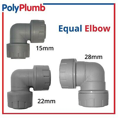 Polyplumb 15mm 22mm 28mm PolyPipe Equal Elbow Push Fit Plastic Plumbing Fitting