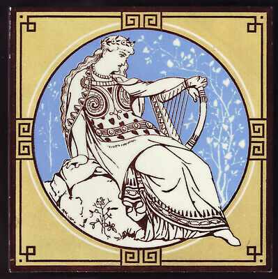 Stunning MOYR SMITH Large Antique MINTON TILE Circa 1876 Keltic Harp Musicians