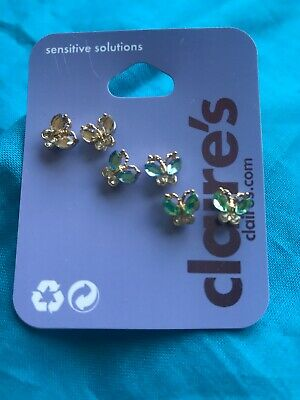 Three Pairs Of Claire's Rhinestone Butterfly Earrings