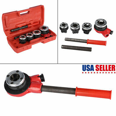 "Best 4 Dies Manual Plumber Pipe Threading Kit 1/2"" 3/4"" 1"" 1-1/4"" Threader Tool"