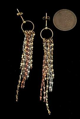 Vintage 2.5 inch Mixed Metals Dangling Chain Post Earrings NBW