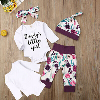 Newborn Baby Girls Romper Outfits Set Top Pant Hat Headband Tracksuit Clothes