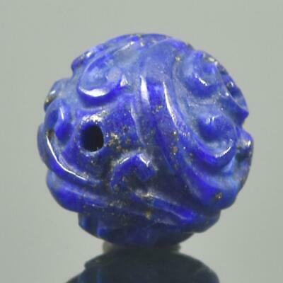 Carved Natural Blue Lapis Lazuli Round 12.40 mm Bead Carving 2.70 g Handmade
