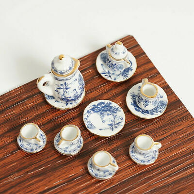 15Pcs Dining Ware Ceramic Blue Flower Set For 1:12 Miniatures Dollhouse Z6R7