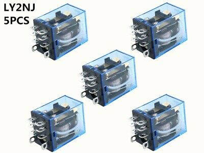 5Pcs Relay LY2NJ DC 12V DC 24V AV 110V AC 220V Small relay 10A 8PIN Coil DPDT