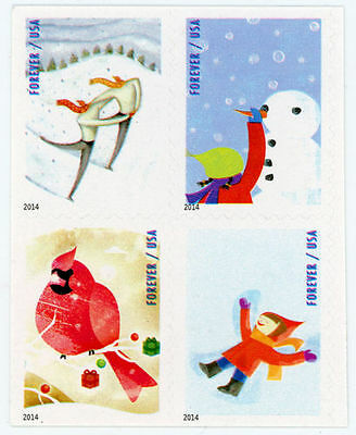 2014 49c Winter Fun, Snowman, Cardinal, Booklet Block of 4 Scott 4937-40 Mint NH