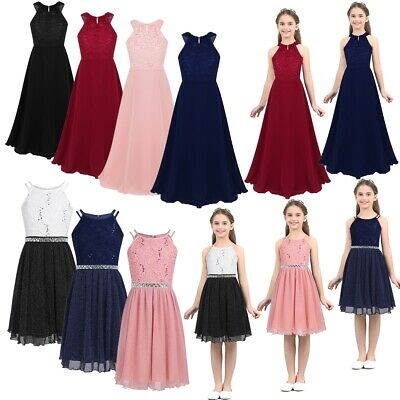 Girls Halter Flower Lace Junior Bridesmaid Dress Party Wedding Long Prom Dresses
