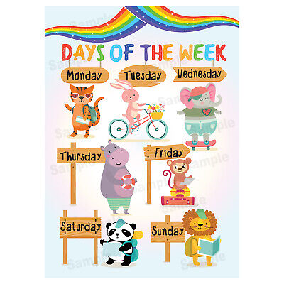 Days Of The Week Poster Wall Chart Educational Kids Child Jungle Animals Theme