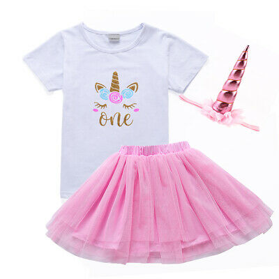 UK Kids Baby Girls Unicorn Birthday Top T-shirt Tutu Skirt Outfit Clothes 3pcs